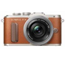 Olympus PEN E-PL8 + 14-42mm EZ Pancake Kit (Brown/Silver)