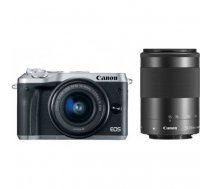 Canon EOS M6 + EF-M 15-45mm + 55-200mm IS STM, silver, black