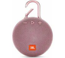 JBL ūdensizturīga portatīvā skanda ar karabīni, rozā - JBLCLIP3PINK