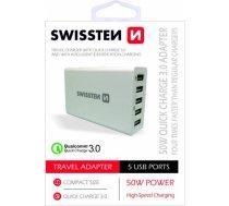 Swissten Qualcomm 3.0 QC Premium Tīkla Lādētājs USB 5x 2.1A / 50W Balts SW-TCH-QUAL3.050W-W