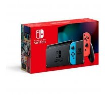 Nintendo Switch game console, neon red and neon blue