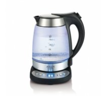 Adler Kettle AD 1247 NEW With electronic control, 1850 - 2200 W, 1.7 L, Stainless steel, glass, Stainless steel/Transparent, 360° rotational base AD 1247 NEW