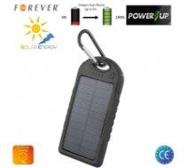 Forever PB-016 Solar Power Bank 5000mAh Charger 2x USB 5V 1A Ports Waterproof Black