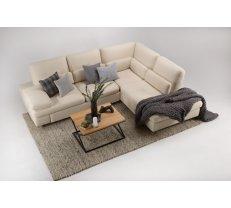 Mīkstās mēbeles RIMIN 3 izvelkamais stūra dīvāns + PUFS