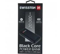 Swissten Black Core Premium Recovery Power Banka Uzlādes batereja 2.1A / USB / USB-C / 20000 mAh Melna | SW-PWB-BLC-20000  | 8595217463233