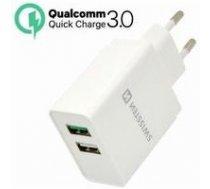 Swissten Premium Tīkla Lādētājs Qualcomm 3.0 Quick Charge + Smart IC ar 2x USB 30W Balts | SW-TCH-Q-30W  | 8595217451131