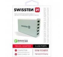Swissten Qualcomm 3.0 QC Premium Tīkla Lādētājs USB 5x 2.1A / 50W Balts | SW-TCH-QUAL3.050W-W  | 8595217445826