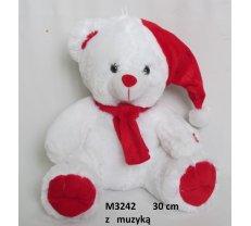 Mīkstās rotaļlietas - Mīkstā rotaļļieta Ziemassvētku lācis 30 cm SUN DAY M3242
