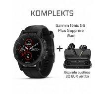 GARMIN Fēnix 5S Plus Sapphire Black + Wireless Earbuds Mifa X3