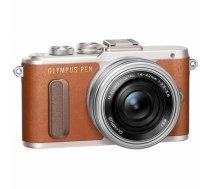 Olympus PEN E-PL8 + 14-42mm EZ Pancake Mirrorless Camera Kit, 16.1 MP, ISO 25600, Display diagonal 7.62 , Video recording, Wi-Fi, TTL, Magnification 14 x, Live MOS, Brown/Silver, Image sensor size (W x H) 17.3 x 13