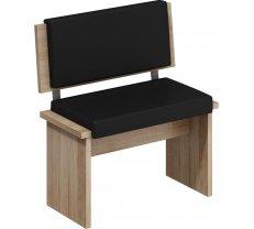 Krēsls Bond BON 02 sonoma Platums: 75 cm, Dziļums: 43 cm, Augstums: 83 cm, Materiāls: laminēta KSP, Apdare: eko āda, Kājiņu krāsa: sonoma, Krāsa: melns