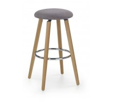 Krēsls Hoker 76 f Platums: 37 cm, Dziļums: 37 cm, Augstums: 72 cm, Materiāls: tērauds + koks, Apdare: audums, Krāsa: pelēks