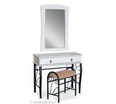 Kosmētikas galds 1102 Platums: 90 cm, Dziļums: 42 cm, Augstums: 79 cm, Izgatavošanas materiāls: dabīgs koks + MDF, Ar atvilktnēm: 1, Atvilktņu skaits: 1, Krāsa: balts + melns