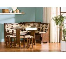 Virtuves stūra dīvāns Neptun Stūra novietojums: Pa kreisi, Platums: 125 cm, Garums: 165 cm, Dziļums: 41.5 cm, Materiāls: dabīgs koks (alksnis) + audums, Krāsa: no palitras
