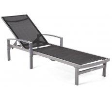 Sauļošanās krēsls Caravela Platums: 61.5 cm, Garums: 191 cm, Augstums: 89 cm, Materiāls: alumīnijs + audums Textilene, saliekams: 1, Mīksts: 1, Krāsa: sudrabs + melns