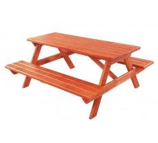 Dārza galds MO 110 Platums: 140 cm, Garums: 157 cm, Augstums: 68 cm, Materiāls: dabīgs koks (egle), Forma: taisnstūris, Krāsa: no palitras