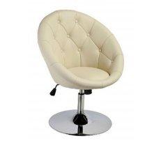 Krēsls C - 881 Platums: 68 cm, Dziļums: 61 cm, Augstums: 88 cm, Sēdvietas augstums: 52 cm, Materiāls: metāls, Apdare: eko āda, Krāsa: krēma
