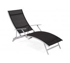 Sauļošanās krēsls Summer Platums: 63 cm, Garums: 175 cm, Augstums: 103 cm, Materiāls: tērauds + audums Textilene, saliekams: 1, Mīksts: 1, Krāsa: sudrabs + melns