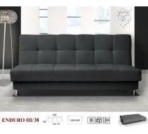 Dīvāns Enduro 3 standard Dīvāna tips: taisni dīvāni, Platums: 195 cm, Dziļums: 85 cm, Augstums: 90 cm, Guļamvietas garums: 195 cm, Guļamvietas platums: 120 cm, Pildījums: Bonell atsperes + putas (porolons), Apdare: audums, Ar veļas kasti: 1, izvelkamie: 1, Auduma numurs: Soro, Izvilkšanas mehānisms: Automāts, Krāsa: melns