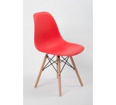 Krēsls EM-01 Platums: 47 cm, Augstums: 80 cm, Sēdvietas augstums: 43 cm, Materiāls: plastmasa + koks, Krāsa: sarkans