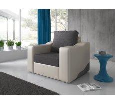 Mīksts krēsls William Fotel standard Platums: 101 cm, Dziļums: 84 cm, Augstums: 79 cm, Apdares materiāli: audums + eko āda, Pildījums: putas (porolons), Ar roku balstiem: 1, Krāsa: pelēks + balts