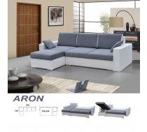 Dīvāns Aron Izvēlieties stūra novietojumu: Pa labi, Dīvāna tips: stūra dīvāni, Platums: 240 cm, Dziļums: 140 cm, Guļamvietas garums: 195 cm, Guļamvietas platums: 140 cm, Pildījums: Bonell atsperes + putas (porolons), Ar veļas kasti: 1, izvelkamie: 1, Izvilkšanas mehānisms: Automāts
