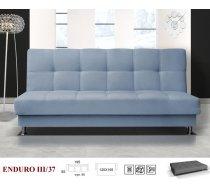 Dīvāns Enduro 3 standard Dīvāna tips: taisni dīvāni, Platums: 195 cm, Dziļums: 85 cm, Augstums: 90 cm, Guļamvietas garums: 195 cm, Guļamvietas platums: 120 cm, Pildījums: Bonell atsperes + putas (porolons), Apdare: audums, Ar veļas kasti: 1, izvelkamie: 1, Auduma numurs: Soro, Izvilkšanas mehānisms: Automāts, Krāsa: gaiši zils