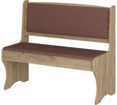 Krēsls ZKU 02 zelta ozols Platums: 103.6 cm, Dziļums: 48.2 cm, Augstums: 88 cm, Materiāls: laminēta KSP, Apdare: eko āda, Kājiņu krāsa: zelta ozols, Krāsa: brūns