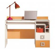 Galds Labirynt 18 Garums: 125 cm, Augstums: 85 cm, Platums: 55 cm, Izgatavošanas materiāls: lamināts + finieris, Forma: taisnstūra, Ar tastatūras plauktu: 1, Ar plauktiem: 1, Ar atvilktnēm: 1, Krāsa: krēma + oranžs