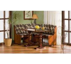 Virtuves stūra dīvāns Jowisz Stūra novietojums: Pa labi, Platums: 125 cm, Garums: 165 cm, Dziļums: 42 cm, Materiāls: dabīgs koks (alksnis) + audums, Krāsa: brūns