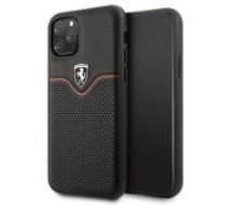 Ferrari Leather Hardcase Off Track Victory FEOVEHCN58BK priekš Apple iPhone 11 Pro - Melns - ādas apvalks (bampers, vāciņš, leather case cover, bumper)