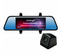 Car Video Recorder PRESTIGIO RoadRunner MIRROR (Front: FHD 1920x1080@30fps Rear: VGA640x480@30fps, 6.86 inch screen, MSC8328P, 4 MP CMOS GC2023 image sensor, 12 MP camera, 120° Viewing Angle, Micro USB, 500 mAh, Automatic Night Mode, Motion Detection, G-sensor, Cyclic Recording, black, Plastic)
