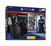Sony PlayStation 4 Pro 1TB + TLoU + Uncharted 4 + Uncharted Collection + Uncharted Lost Legacy Melna (Jauna)
