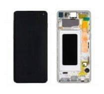 LCD displejs ekrāns Samsung G973F S10 ar skārienekrānu Prism White oriģināls (service pack)