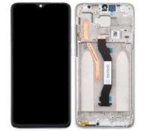 Ekranas Xiaomi Redmi Note 8 Pro su lietimui jautriu stikliuku su rėmeliu baltas originalus (service pack)