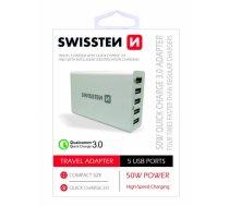 SWISSTEN - Swissten Qualcomm 3.0 QC Premium Tīkla Lādētājs USB 5x 2.1A / 50W Balts - SW-TCH-QUAL3.050W-W