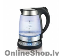 ADLER Kettle  AD 1247  With electronic control, Stainless steel, glass, Stainless steel/Transparent, 1850 - 2200 W, 360° rotational base, 1.7 L
