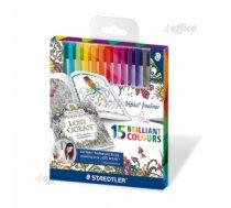 Pildspalvu komplekts STAEDTLER TRIPLUS fineliner, 0.3mm, 15 krāsas, Johannas Basfordas sērija