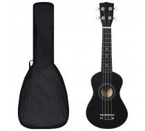 "soprāna bērnu ukulele ar somu, melna, 21"""
