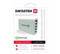 Swissten Qualcomm 3.0 QC Premium Tīkla Lādētājs USB 5x 2.1A / 50W Balts (SW-TCH-QUAL3.050W-W)