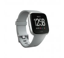 Fitbit Versa Smart watch, NFC, Color LCD, Touchscreen, Heart rate monitor, Activity monitoring 24/7, Bluetooth, Gray/Silver Aluminum