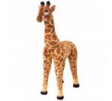 rotaļu žirafe, XXL, plīšs, brūna ar dzeltenu