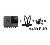 GoPro kamera HD Hero6 Black Edition + Chesty + Suction Cup