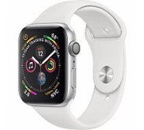 Apple Watch Series 4 44mm Silver Case / White Band viedā aproce