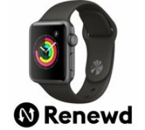 Apple RENEWD Watch Series 3 42mm Space Grey Case / Black Band Renewd viedā aproce