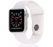 Apple Watch Series 3 38mm Silver Case / White Band viedā aproce