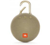 JBL Clip 3 ūdensizturīgs portatīvais skaļrunis, Bluetooth, bēšs (Desert Sand)