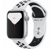 Apple Watch Nike Series 5 GPS viedpulkstenis, 40mm, sudraba/melns (Silver Aluminium/Pure Platinum/Black Nike Sport Band), MX3R2KS/A