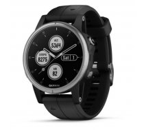 Garmin fēnix 5S Plus GPS fitnesa viedpulkstenis, sudraba/melns (Silver/Black Band)