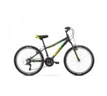 """Apvidus velosipēds jauniešiem Romet Rambler 24"""" melns-zaļš, rāmis 13"""", 2021"""